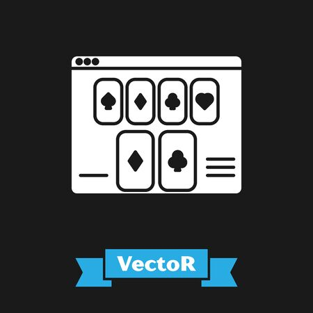 White Online poker table game icon isolated on black background. Online casino. Vector Illustration Stockfoto - 130733953