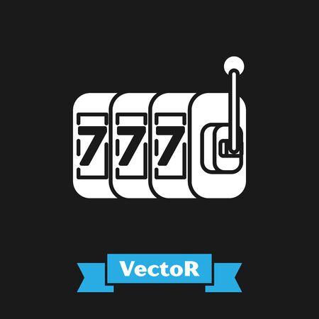 White Slot machine with lucky sevens jackpot icon isolated on black background. Vector Illustration Illustration