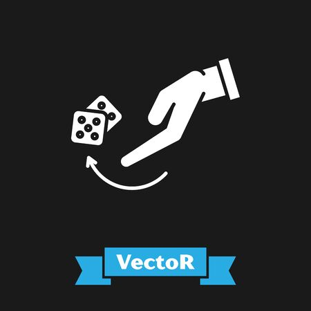 White Human hand throwing game dice icon isolated on black background. Vector Illustration