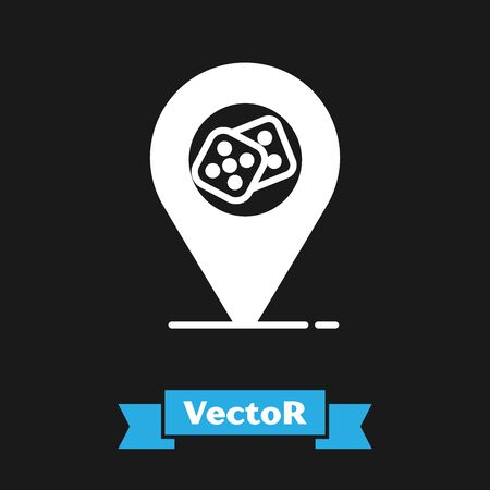 White Casino location icon isolated on black background. Game dice icon. Vector Illustration