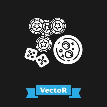 White Casino chips, game dice and glass of whiskey with ice cubes icon isolated on black background. Casino poker. Vector Illustration