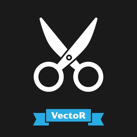 White Scissors icon isolated on black background. Cutting tool sign. Vector Illustration Çizim