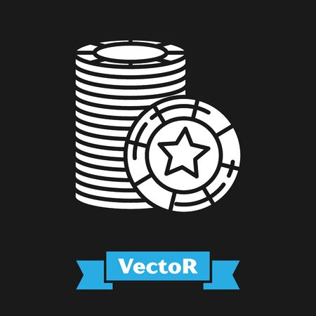 White Casino chips icon isolated on black background. Casino gambling. Vector Illustration  イラスト・ベクター素材
