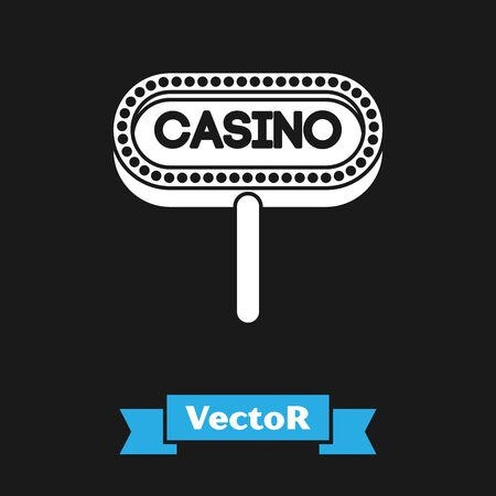 White Casino signboard icon isolated on black background. Vector Illustration Stock Illustratie