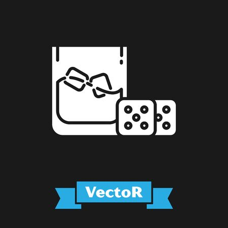 White Game dice and glass of whiskey with ice cubes icon isolated on black background. Casino gambling. Vector Illustration