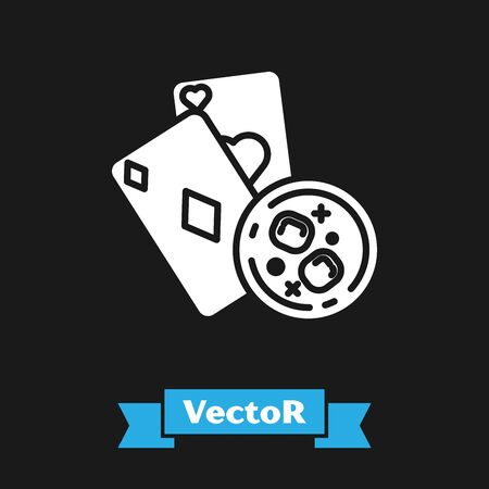 White Playing cards and glass of whiskey with ice cubes icon isolated on black background. Casino gambling. Vector Illustration