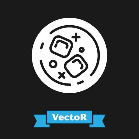 White Glass of whiskey and ice cubes icon isolated on black background. Vector Illustration