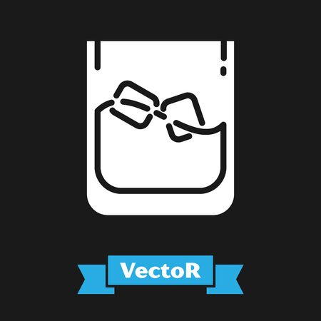 White Glass of whiskey and ice cubes icon isolated on black background. Vector Illustration Banco de Imagens - 130745703
