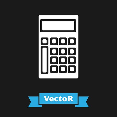 White Calculator icon isolated on black background. Accounting symbol. Business calculations mathematics education and finance. Vector Illustration Çizim