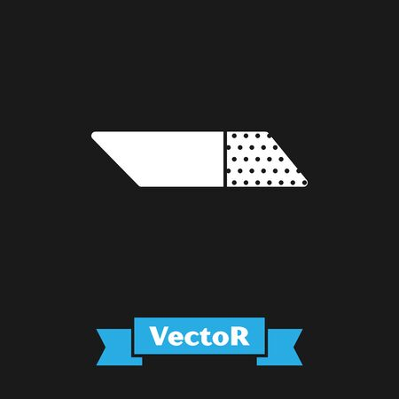 White Eraser or rubber icon isolated on black background. Vector Illustration