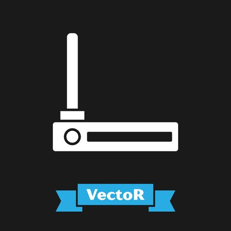 White Router and wifi signal symbol icon isolated on black background. Wireless modem router. Computer technology internet. Vector Illustration Çizim