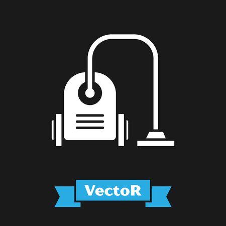 White Vacuum cleaner icon isolated on black background. Vector Illustration Çizim