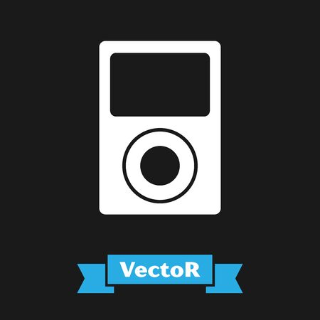 White Music player icon isolated on black background. Portable music device. Vector Illustration Çizim