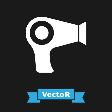 White Hair dryer icon isolated on black background. Hairdryer sign. Hair drying symbol. Blowing hot air. Vector Illustration