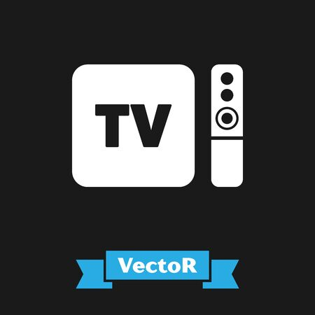 White Multimedia and TV box receiver and player with remote controller icon isolated on black background. Vector Illustration Stock Illustratie