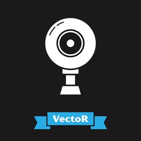 White Web camera icon isolated on black background. Chat camera. Webcam icon. Vector Illustration