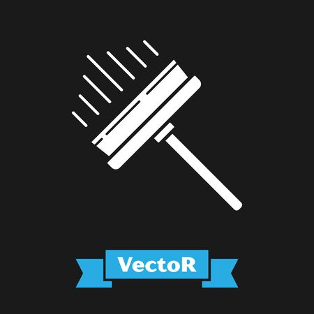 White Cleaning service with of rubber cleaner for windows icon isolated on black background. Squeegee, scraper, wiper. Vector Illustration Çizim