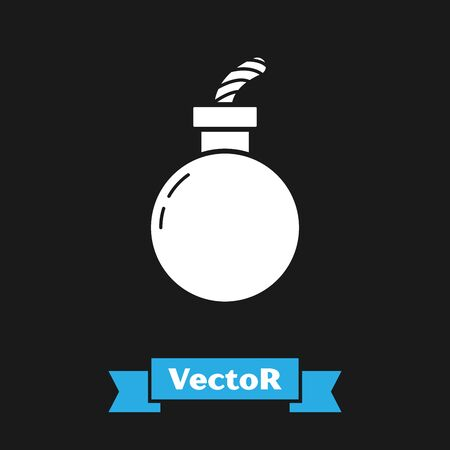 White Bomb ready to explode icon isolated on black background. Happy Halloween party. Vector Illustration