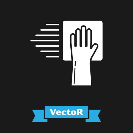 White Cleaning service icon isolated on black background. Vector Illustration
