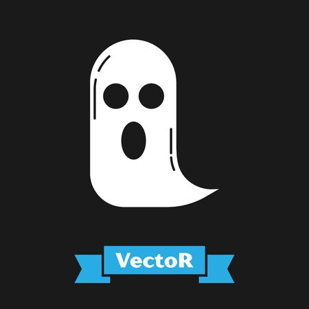 White Ghost icon isolated on black background. Happy Halloween party. Vector Illustration Ilustrace