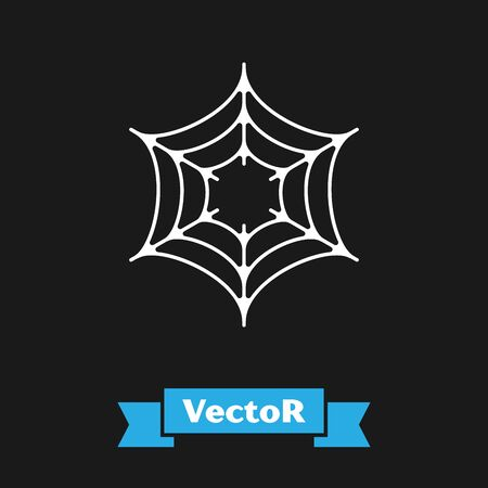 White Spider web icon isolated on black background. Cobweb sign. Happy Halloween party. Vector Illustration