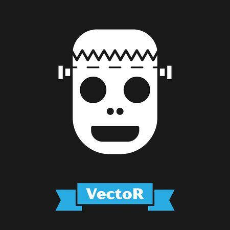 White Zombie mask icon isolated on black background. Happy Halloween party. Vector Illustration Çizim