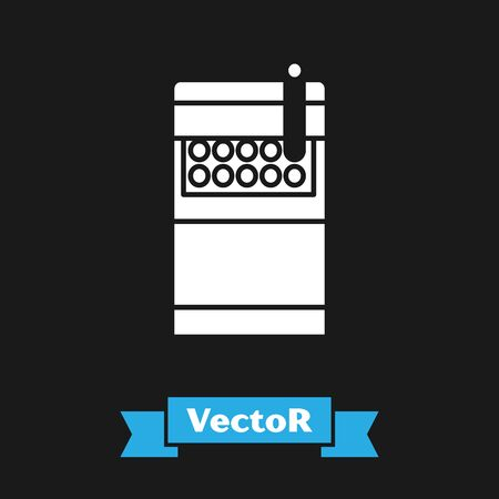 White Open cigarettes pack box icon isolated on black background. Cigarettes pack. Vector Illustration Ilustrace