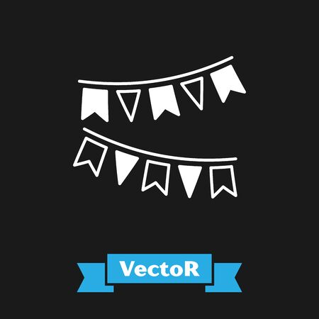 White Carnival garland with flags icon isolated on black background. Party pennants for birthday celebration, festival and fair decoration. Vector Illustration