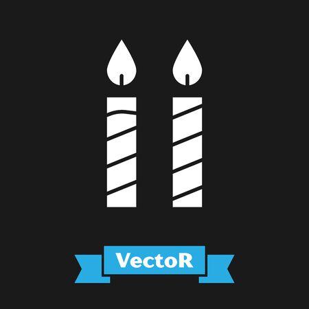 White Birthday cake candles icon isolated on black background. Vector Illustration