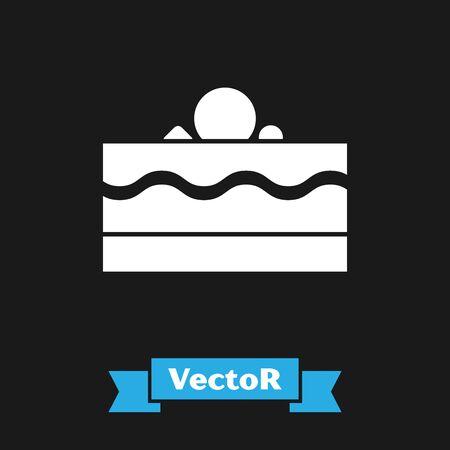 White Cake icon isolated on black background. Happy Birthday. Vector Illustration Illustration