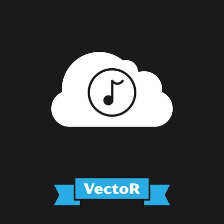 White Music streaming service icon isolated on black background. Sound cloud computing, online media streaming, online song, audio wave. Vector Illustration Иллюстрация
