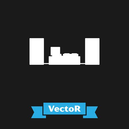 White Home stereo with two speaker s icon isolated on black background. Music system. Vector Illustration