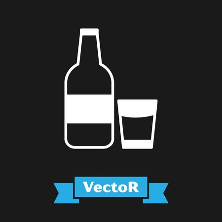 White Closed glass bottle with milk and glass icon isolated on black background. Vector Illustration Ilustrace