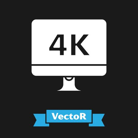 White Computer PC monitor display with 4k video technology icon isolated on black background. Vector Illustration