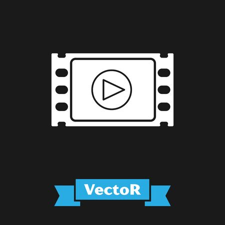 White Play Video icon isolated on black background. Film strip with play sign. Vector Illustration Çizim