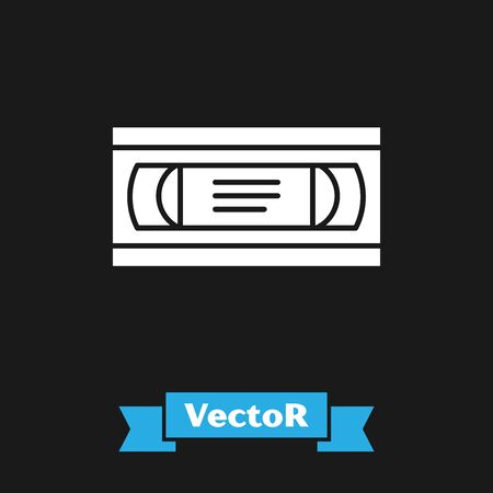White VHS video cassette tape icon isolated on black background. Vector Illustration