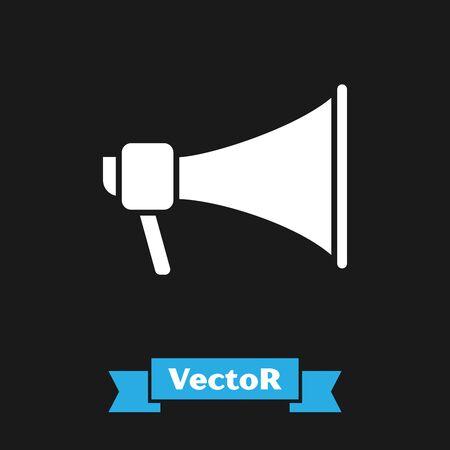 White Megaphone icon isolated on black background. Speaker sign. Vector Illustration Çizim