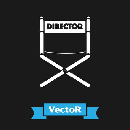White Director movie chair icon isolated on black background. Film industry. Vector Illustration Çizim