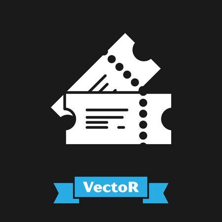 White Cinema ticket icon isolated on black background. Vector Illustration