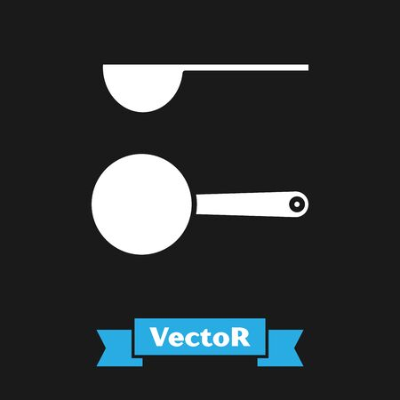 White Measuring spoon icon isolated on black background. Vector Illustration
