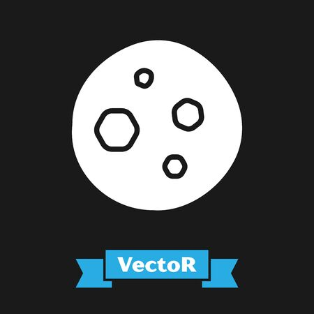 White Cookie or biscuit with chocolate icon isolated on black background. Vector Illustration