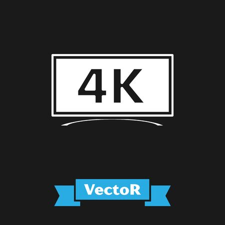 White Screen tv with 4k Ultra HD video technology icon isolated on black background. Vector Illustration