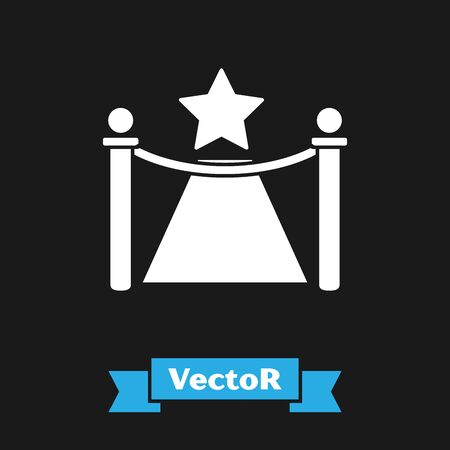 White Carpet with barriers and star icon isolated on black background. VIP event, luxury celebration. Celebrity party entrance. Vector Illustration