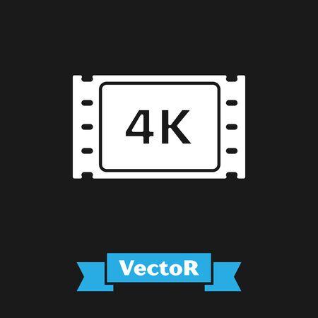 White 4k movie, tape, frame icon isolated on black background. Vector Illustration