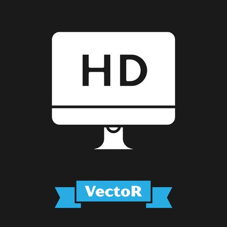 White Computer PC monitor display with HD video technology icon isolated on black background. Vector Illustration
