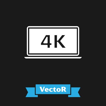 White Laptop screen with 4k video technology icon isolated on black background. Vector Illustration