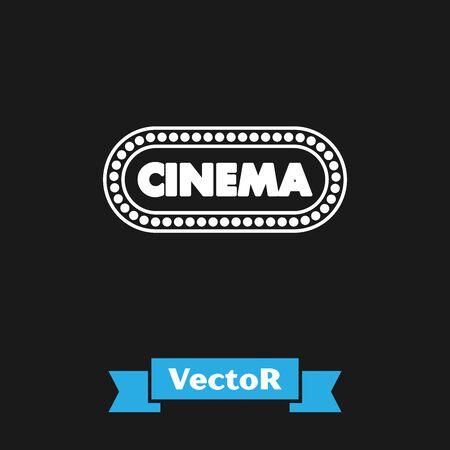 White Cinema poster design template icon isolated on black background. Movie time concept banner design. Vector Illustration Çizim