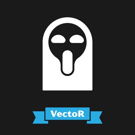 White Funny and scary ghost mask for Halloween icon isolated on black background. Happy Halloween party. Vector Illustration Çizim