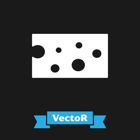 White Cheese icon isolated on black background. Vector Illustration