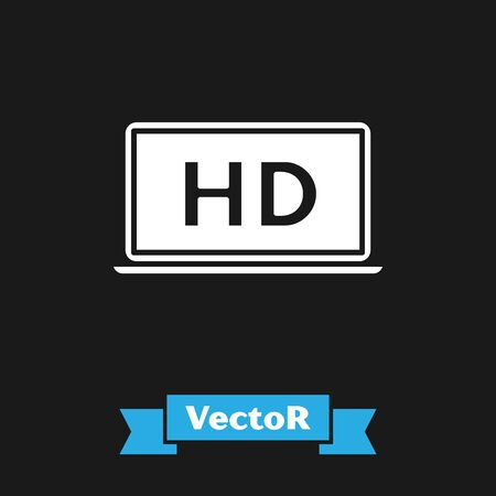 White Laptop screen with HD video technology icon isolated on black background. Vector Illustration